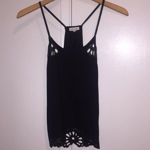 Silence + Noise Black Cut out & Sequin tank top XS